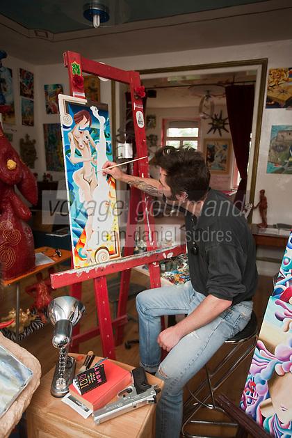 Europe/France/Nord-Pas-de-Calais/59/Nord/ Cassel: Stéphane Chombart artiste peintre dans l'atelier de sa Villa Gourgandine  - Chambre d'Hôte