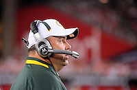 Aug. 28, 2009; Glendale, AZ, USA; Green Bay Packers head coach Mike McCarthy against the Arizona Cardinals during a preseason game at University of Phoenix Stadium. Mandatory Credit: Mark J. Rebilas-