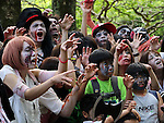 "May 14, 2016, Tokyo, Japan - Participants take part in a ""zombie walk"" at Tokyo's Yoyogi park on Saturday, May 14, 2016. Zombie maniacs flocked to the park for an annual gathering, dressing in bloodstained costumes with grisl gore makeup.  (Photo by Yoshio Tsunoda/AFLO) LWX -ytd-"