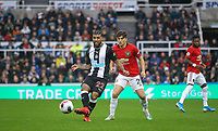 DeAndre Yedlin of Newcastle United & Daniel James of Man Utd during the Premier League match between Newcastle United and Manchester United at St. James's Park, Newcastle, England on 6 October 2019. Photo by J GILL / PRiME Media Images.