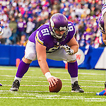 19 October 2014: Minnesota Vikings guard Joe Berger prepares to snap the ball as a center in the fourth quarter against the Buffalo Bills at Ralph Wilson Stadium in Orchard Park, NY. The Bills defeated the Vikings 17-16 in a dramatic, last minute, comeback touchdown drive. Mandatory Credit: Ed Wolfstein Photo *** RAW (NEF) Image File Available ***