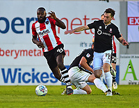 Lincoln City's Lee Frecklingtonnvies for possession with Exeter City's Hiram Boateng<br /> <br /> Photographer Andrew Vaughan/CameraSport<br /> <br /> The EFL Sky Bet League Two Play Off Second Leg - Exeter City v Lincoln City - Thursday 17th May 2018 - St James Park - Exeter<br /> <br /> World Copyright &copy; 2018 CameraSport. All rights reserved. 43 Linden Ave. Countesthorpe. Leicester. England. LE8 5PG - Tel: +44 (0) 116 277 4147 - admin@camerasport.com - www.camerasport.com