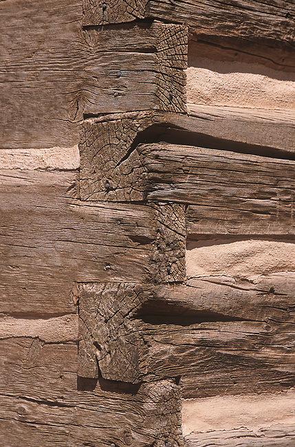 Log Building Detail, Fruita Grade School, Capitol Reef National Park, Utah