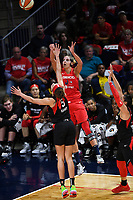 Washington, DC - Sept 17, 2019: Washington Mystics forward Elena Delle Donne (11) shoots a last second shot from the corner during WNBA Playoff semi final game between Las Vegas Aces and Washington Mystics at the Entertainment & Sports Arena in Washington, DC. The Mystics hold on to beat the Aces 97-95. (Photo by Phil Peters/Media Images International)