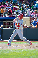 Mike O'Neill (68) of the Memphis Redbirds at bat against the Omaha Storm Chasers in Pacific Coast League action at Werner Park on April 22, 2015 in Papillion, Nebraska.  (Stephen Smith/Four Seam Images)