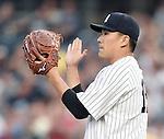 Masahiro Tanaka (Yankees), JUNE 9, 2015 - MLB : New York Yankees starting pitcher Masahiro Tanaka appreciates Didi Gregorius (not pictured) during the second inning of a baseball game against the Washington Nationals at Yankee Stadium in New York, United States. (Photo by AFLO)