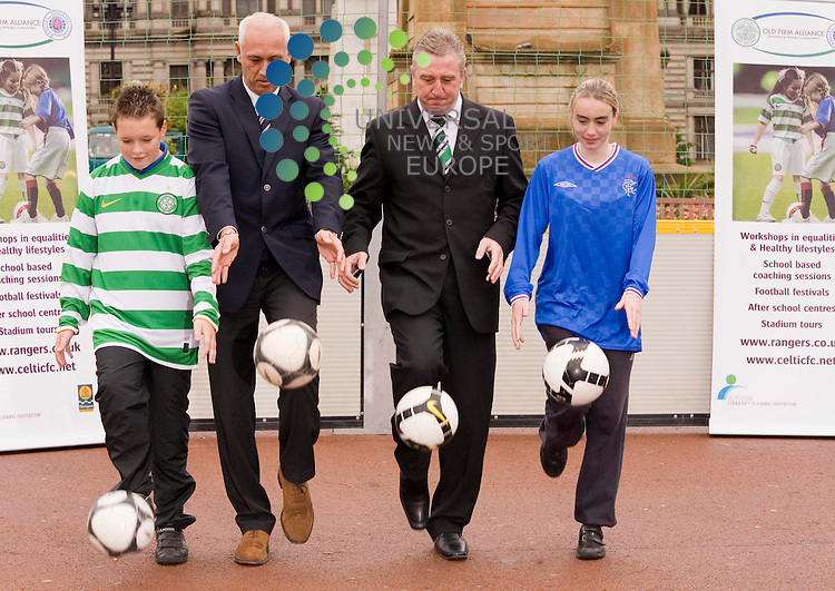 Launch of The Old Firm Alliance Street League. Mark Hateley,George McCluskey, with Connor Smith,and Paige Forsyth, kick off proceedings, George Square, Glasgow.  Picture Johnny Mclauchlan/Universal news and Sport (Scotland)09/10/09