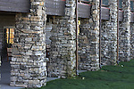 Stone supports for the large rustic log porch of the Keeter Convention Center at the College of the Ozarks Branson Missouri
