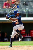 Tim Beckham (22) of the Durham Bulls at bat against the Charlotte Knights at Knights Stadium on August 18, 2013 in Fort Mill, South Carolina.  The Bulls defeated the Knights 8-5 in Game One of a double-header.  (Brian Westerholt/Four Seam Images)