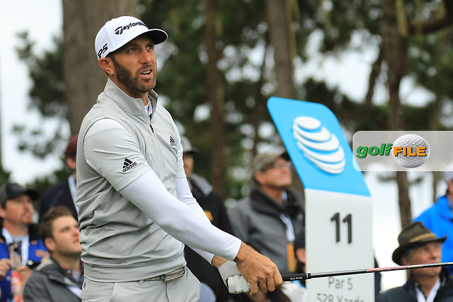 Dustin Johnson (USA) in action at Spyglass Hill Golf Course during the second round of the AT&T Pro-Am, Pebble Beach Golf Links, Monterey, USA. 08/02/2019<br /> Picture: Golffile | Phil Inglis<br /> <br /> <br /> All photo usage must carry mandatory copyright credit (© Golffile | Phil Inglis)