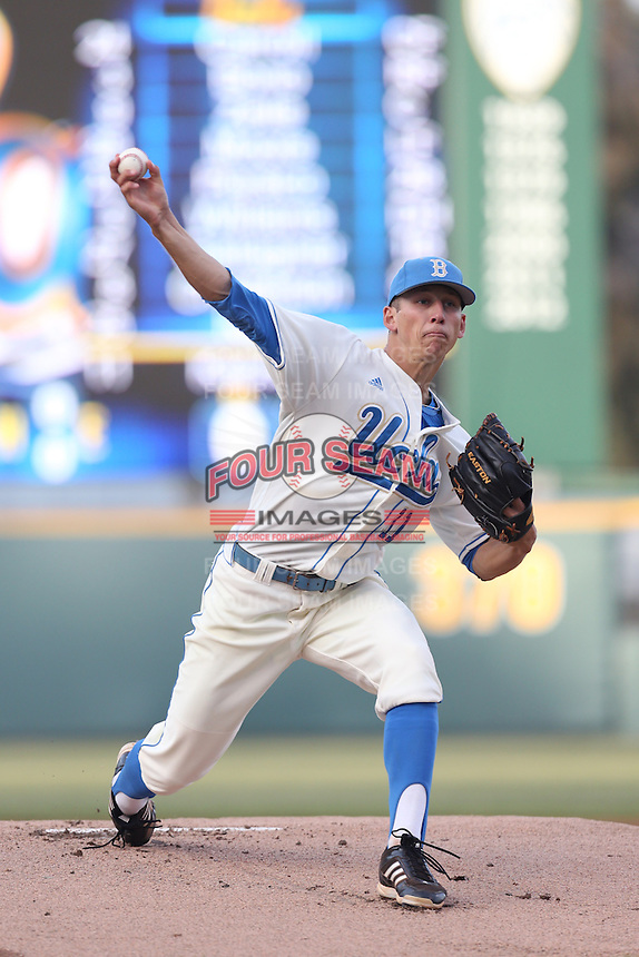 James Kaprielian #11 of the UCLA Bruins pitches against the Arizona State Sun Devils at Jackie Robinson Stadium on March 28, 2014 in Los Angeles, California. UCLA defeated Arizona State 7-3. (Larry Goren/Four Seam Images)