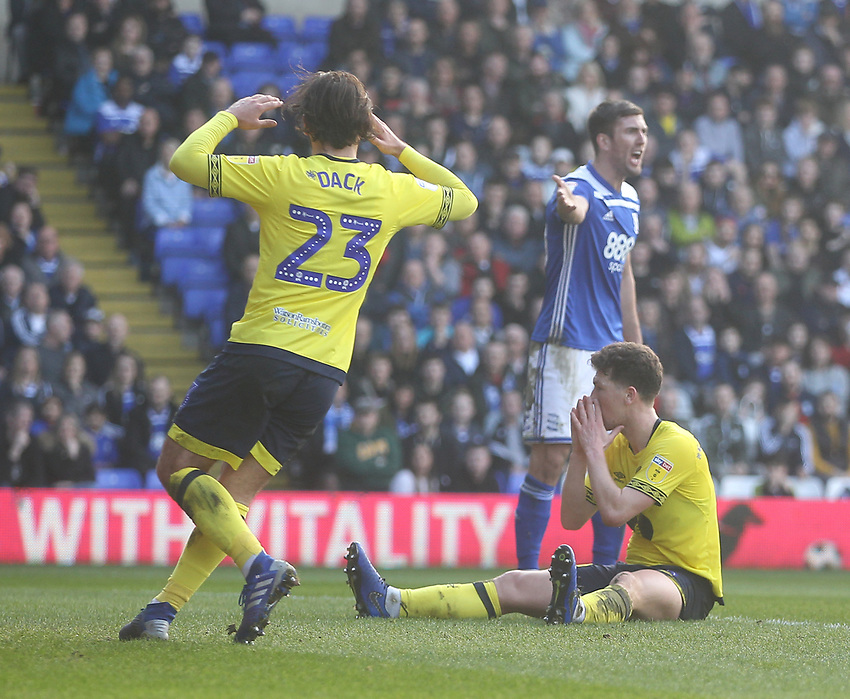 Blackburn Rovers Richard Smallwood  regrets a missed chance<br /> <br /> Photographer Mick Walker/CameraSport<br /> <br /> The EFL Sky Bet Championship - Birmingham City v Blackburn Rovers - Saturday 23rd February 2019 - St Andrew's - Birmingham<br /> <br /> World Copyright © 2019 CameraSport. All rights reserved. 43 Linden Ave. Countesthorpe. Leicester. England. LE8 5PG - Tel: +44 (0) 116 277 4147 - admin@camerasport.com - www.camerasport.com