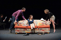 "Dress rehearsal for the New Play Festival 2012 play ""Three-Year Glitch"" by Kirsten Easton '13, directed by Michael Sargent, on Friday, February 24, 2012 in Keck Theater on the Los Angeles campus of Occidental College. (Photo by Marc Campos, Occidental College Photographer)"