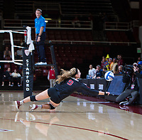 STANFORD, CA - December 1, 2018: Morgan Hentz at Maples Pavilion. The Stanford Cardinal defeated Loyola Marymount 25-20, 25-15, 25-17 in the second round of the NCAA tournament.