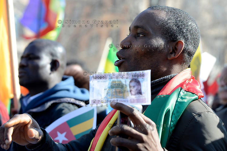 Roma, 3 Marzo 2019 <br /> Le Comunità  africane in Italia protestano contro il governo francese per  l'abolizione del Franco delle colonie d' Africa Francofone (CFA franc) l' abolizione degli accordi coloniali e la fine dello sfruttamento