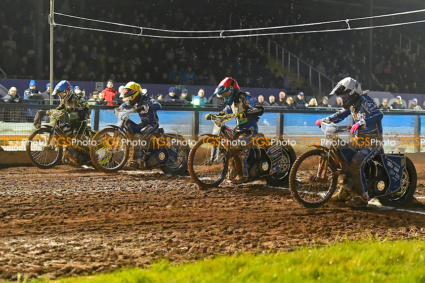 Heat 6 Josh Grajczonek of Poole Pirates far side, Jack Holder of Poole Pirates red cap during Poole Pirates vs King's Lynn Stars, SGB Premiership Shield Speedway at The Stadium on 11th April 2019