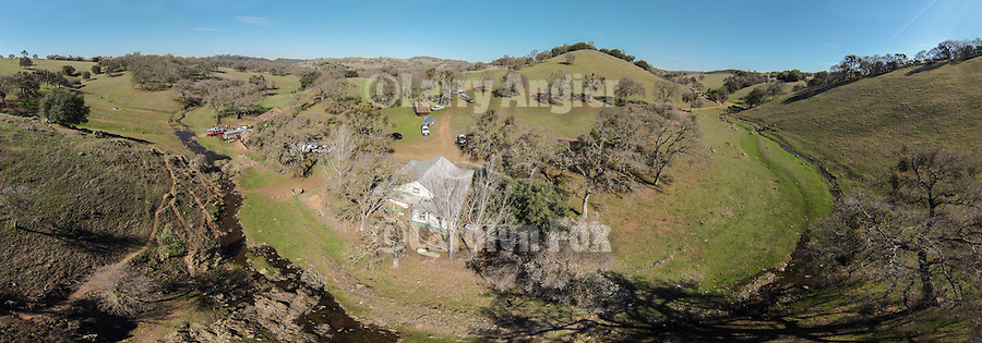 Aerial panorama of the The Ellis Ranch, Amador County, Calif. as taken using the DJI Phantom quadcopter drone.
