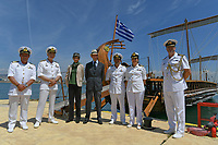 Pictured: Prince Edward (C). Saturday 18 May 2019<br /> Re: Prince Edward, Duke of Kent visits cruiser Georgios Averof at Palaio Faliro, Athens, Greece