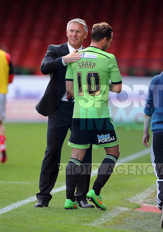 Sheffield United Manager Nigel Adkins congratulates Billy Sharp of Sheffield United at the end of the game<br /> - English League One - Swindon Town vs Sheffield Utd - County Ground Stadium - Swindon - England - 29th August 2015 <br /> --------------------