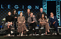 PASADENA, CA - FEBRUARY 4: (L-R Top Row) EP Lauren Shuler Donner, Creator/EP/Showrunner/Writer Noah Hawley,  EP Jeph Loeb and (L-R Bottom Row) Cast Members Lauren Tsai, Rachel Keller, Dan Stevens, Aubrey Plaza, and Navid Negahban during the LEGION panel for the 2019 FX Networks Television Critics Association Winter Press Tour at The Langham Huntington Hotel on February 4, 2019 in Pasadena, California. (Photo by Frank Micelotta/FX/PictureGroup)