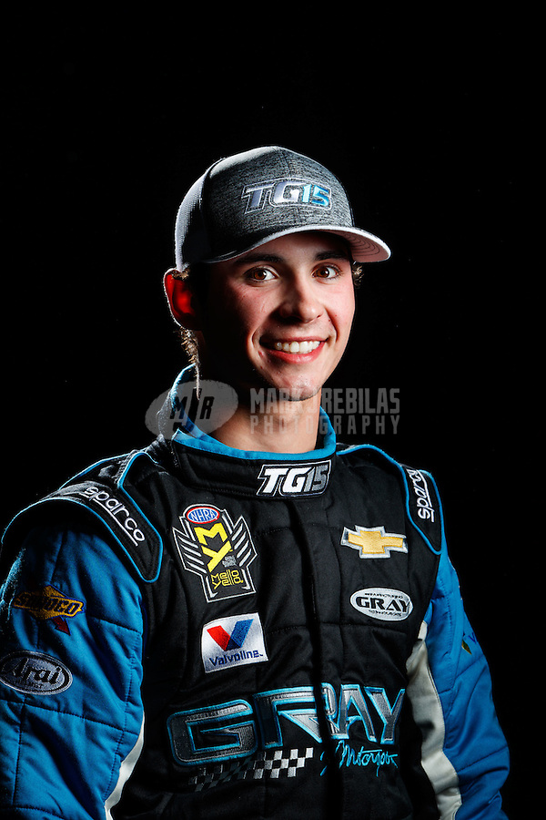 Feb 8, 2017; Pomona, CA, USA; NHRA pro stock driver Tanner Gray poses for a portrait during media day at Auto Club Raceway at Pomona. Mandatory Credit: Mark J. Rebilas-USA TODAY Sports
