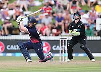England's Ben Stokes gets a top edge off New Zealand's Mitchell Santner. New Zealand Blackcaps v England. One Day International Cricket. Seddon Park, Hamilton, New Zealand on Sunday 25 February 2018.<br /> <br /> Copyright photo: &copy; Bruce Lim / www.photosport.nz