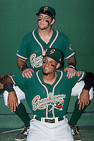 Austin Dean (top) and Yefri Perez pose for a photo prior to the game against the Kannapolis Intimidators at CMC-NorthEast Stadium on September 1, 2014 in Kannapolis, North Carolina.  The Grasshoppers defeated the Intimidators 7-4.  (Brian Westerholt/Four Seam Images)