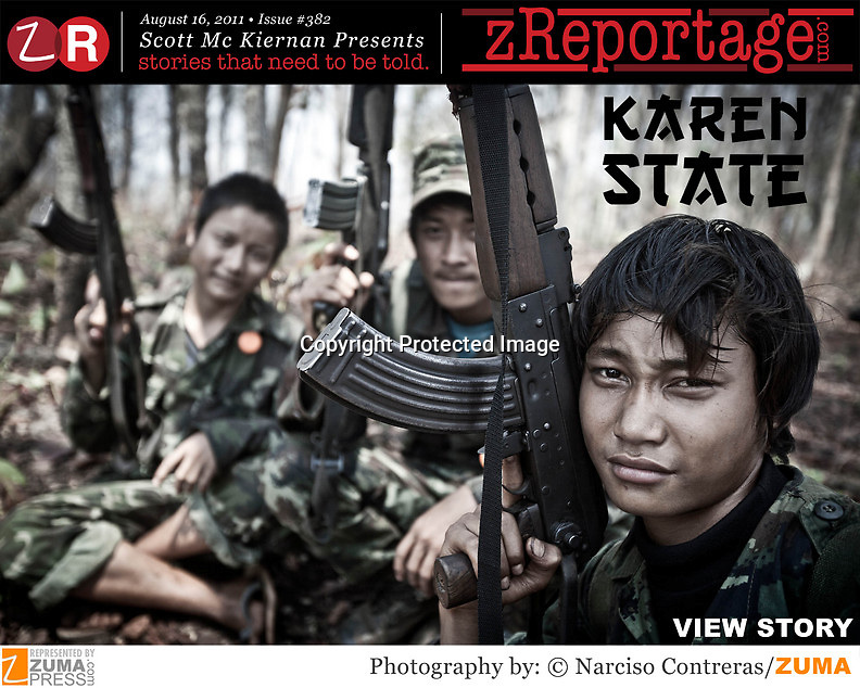 zReportage.com Story of the Week #382 - Launched August 16, 2011 - Full multimedia experience: audio, stills, text and or video: Go to http://www.zReportage.com to see more - Democracy was not to last long in Burma following independence from the British in 1948. A military junta soon took power, crushing any dissent. 5,000 rebel soldiers called the Karen National Liberation Army has spent nearly 60 years fighting the Burmese government. A poorly-equipped force from the Karen ethnic minority is pitched against 400,000 Burmese government soldiers, complete with AK-47s, tanks and jetfighter planes. Many of the once large array of ethnic rebel armies in Burma's north-east have given up the fight, signing peace deals with the military junta. The KNLA is increasingly alone - and is the largest of the groups remaining. Yet it is gradually being pushed back to the Thai border. But still the rebels fight on, determined to gain an autonomous Karen state and protect the roughly 500,000 Karen people, many who live in hiding, from abuses by the government. (Credit Image: © Narciso Contreras/zReportage.com/ZUMA)