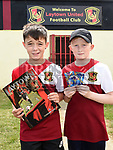 Laytown United players darren Shevlin and Josh Crosbie pictured at the launch of the club's sticker album at Seafields. Photo:Colin Bell/pressphotos.ie