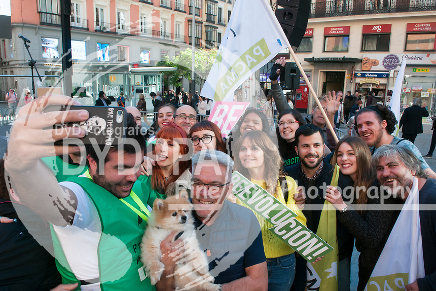 The closing of the campaign of the PACMA party, on Sunday the 28th are the general elections, at Plaza de Callao in Madrid on April 26, 2019.