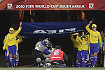 20 JUN 2010:  The FIFA flag exits the tunnel to introduce the teams prior to the match.  The Brazil National Team led the C'ote d'Ivoire National Team 1-0 at the end of the first half at Soccer City Stadium in Johannesburg, South Africa in a 2010 FIFA World Cup Group G match.