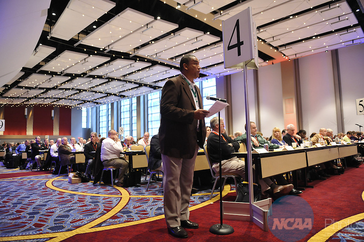 14 JAN 2010: The Division III Business Session at the 2010 NCAA Convention held at the Marriott Marquis and the Hyatt Regency in Atlanta, GA. Stephen Nowland/NCAA Photos.Pictured: Garnett Purnell.