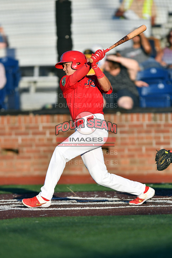 Johnson City Cardinals Kevin Vargas (12) swings at a pitch during game two of the Appalachian League, West Division Playoffs against the Bristol Pirates at TVA Credit Union Ballpark on August 31, 2019 in Johnson City, Tennessee. The Cardinals defeated the Pirates 7-4 to even the series at 1-1. (Tony Farlow/Four Seam Images)