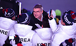IOC president Thomas Bach speaks to some Korean athletes. Opening Ceremony. Pyeongchang2018 winter Olympics. Olympic stadium. Pyeongchang. Republic of Korea. 09/02/2018. ~ MANDATORY CREDIT Garry Bowden/SIPPA - NO UNAUTHORISED USE - +44 7837 394578