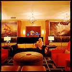 The lobby lounge at the Argonaut Hotel, a luxury boutique Kimpton Hotel in the heart of Fisherman's Warf in San Francisco.  The hotel was named for the Gold Rushers who sought their fortune here.
