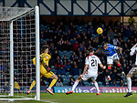04.03.2020: Rangers v Hamilton: Alfredo Morelos heads off the crossbar following a great cross from Borna Barisic