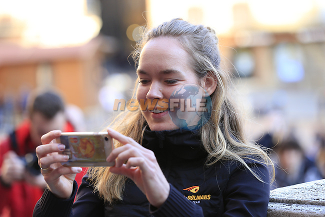 Last year's winner World Champion Anna Van der Breggen (NED) Boels Dolmans pose for pictures in Il Campo Siena finish line of the 2019 Strade Bianche running 184km from Siena to Siena, held over the white gravel roads of Tuscany, Italy. 8th March 2019.<br /> Picture: Eoin Clarke | Cyclefile<br /> <br /> <br /> All photos usage must carry mandatory copyright credit (© Cyclefile | Eoin Clarke)