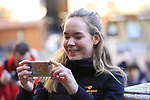 Last year's winner World Champion Anna Van der Breggen (NED) Boels Dolmans pose for pictures in Il Campo Siena finish line of the 2019 Strade Bianche running 184km from Siena to Siena, held over the white gravel roads of Tuscany, Italy. 8th March 2019.<br /> Picture: Eoin Clarke | Cyclefile<br /> <br /> <br /> All photos usage must carry mandatory copyright credit (&copy; Cyclefile | Eoin Clarke)