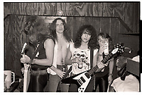 Metallica backstage at Mickey's in Milwaukee, WI. August 14, 1983. <br /> CAP/MPI/GA<br /> &copy;GA//MPI/Capital Pictures