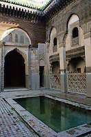 Fez, Morocco - Courtyard of Es-Sahrij Medersa, built 1321, in need of preservation.