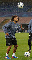 Marcelo     during training session  at eve  the Champions League Group  soccer match between SSC Napoli and Real Madrid   at the San Paolo  Stadium inNaples March 06, 2017