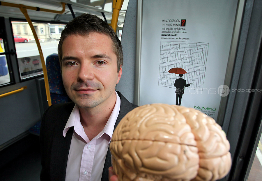 11/09/'11 ***NO REPRODUCTION FEE***Krystian Fikert C.E.O. of MyMind pictured at the launch of the new MyMind poster campaign on buses in Dublin at Donnybrook Garage. .Mental health services can be accessible and affordable judt like the bus....Mental health services and support can be accessible and affordable to everyone, according to Mr. KrystianFilbert, CEO of MyMind, which launched a new ad campaign on buses in Dublin today to highlight the services they provide. MyMind is a non-profit organisation that provides mental health support and services, in various languages to people in Ireland through face-to-face services and online counselling tools..For more information please visit www.mymind.org...Mr.Fikert is one of eight finalists of the 2011 Social Entrepreneurs Ireland Awards for Social Impact Programme, an Ireland Ashoka Fellow, and recipient of the 2011 Captain Cathal Ryan Scholarship through the One Foundation..****NO REPRODUCTION FEE*****Picture Colin Keegan, Collins, Dublin.