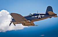Vought (NX83782) <br />   F4U-1A Corsair <br /> <br /> Conceived in early 1938 in response to a US Navy requirement for a high-speed, highaltitude fighter, the prototype inverted gullwinged XF4U-1 Corsair first took to the air in May 1940 and immediately proved itself to be one of the fastest fighter aircraft in the world. In June 1941, the Navy issued the first production contract for the somewhat revised F4U-1 model and the basic design continued in production until January 1953, at which time over 12,800 Corsairs of all models had been built.