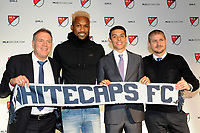 Philadelphia, PA - Thursday January 19, 2018: Bob Lenarduzzi, Kendall Waston, Justin Fiddes, Carl Robinson during the 2018 MLS SuperDraft at the Pennsylvania Convention Center.