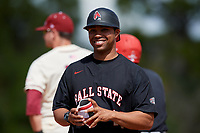 Ball State Cardinals coach Blake Beemer (24) during a game against the Saint Joseph's Hawks on March 9, 2019 at North Charlotte Regional Park in Port Charlotte, Florida.  Ball State defeated Saint Joseph's 7-5.  (Mike Janes/Four Seam Images)