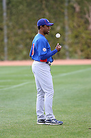 Fernando Perez #3 of the Chicago Cubs participates warms up during spring training workouts at the Cubs complex on February 19, 2011  in Mesa, Arizona. .Photo by Bill Mitchell / Four Seam Images.