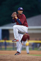 Mahoning Valley Scrappers pitcher Jose Zapata (51) delivers a pitch during a game against the Batavia Muckdogs on June 22, 2015 at Dwyer Stadium in Batavia, New York.  Mahoning Valley defeated Batavia 15-11.  (Mike Janes/Four Seam Images)