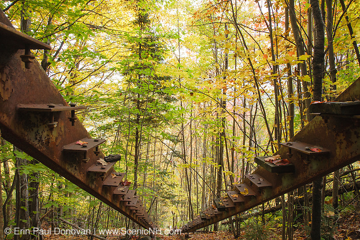 Looking down the stairs at the abandoned Nansen Ski Jump in Milan New Hampshire USA. This jump was constructed in 1936 and in 1938 Olympic Trials were held here. The jump was closed in 1988.