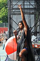 Eccentric front man King Khan performs with the Shrines at The Pool Parties Concert Series at McCarren Park , Brooklyn, NY