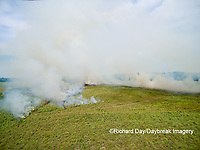 63863-02620 Summer prairie burn Prairie Ridge State Natural Area - aerial - Marion Co. IL